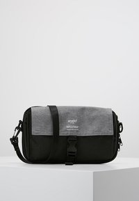 anello - SQUARE FLAP CROSS BODY - Skuldertasker - black grey - 0