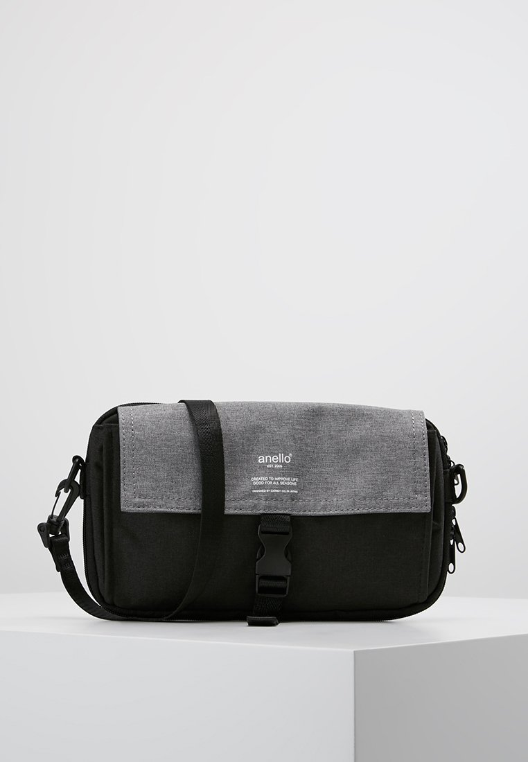 anello - SQUARE FLAP CROSS BODY - Skuldertasker - black grey
