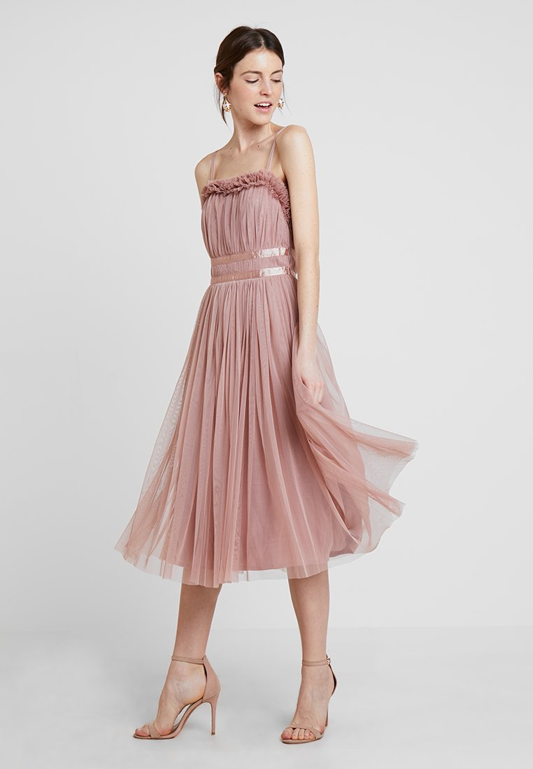 Anaya with love - ANAYA GATHERED RUFFLE MIDI - Cocktailjurk - pearl blush