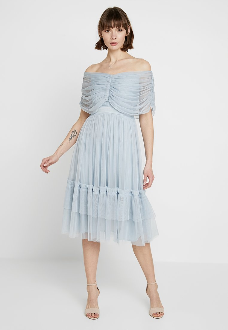 Anaya with love - ANAYA WITH LOVE GATHERED BARDOT MIDI DRESS - Cocktailjurk - baby blue