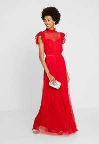Anaya with love - HIGH NECK GATHERED DRESS WITH RUFFLE DETAILS - Ballkjole - red - 2