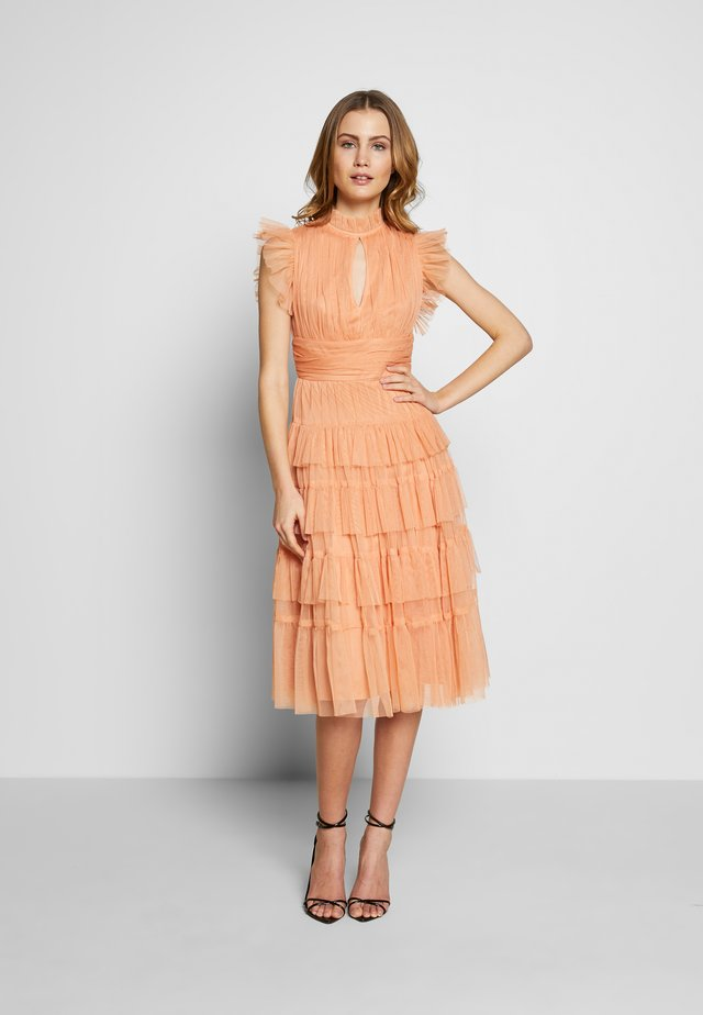 RUFFLE SLEEVE KEY HOLE MIDI DRESS WITH TIERS - Cocktail dress / Party dress - apricot
