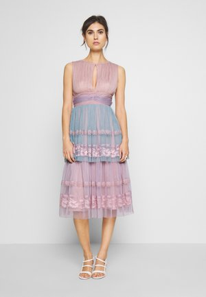 SLEEVELESS KEY HOLE DRESS WITH TIER SKIRT - Occasion wear - multi