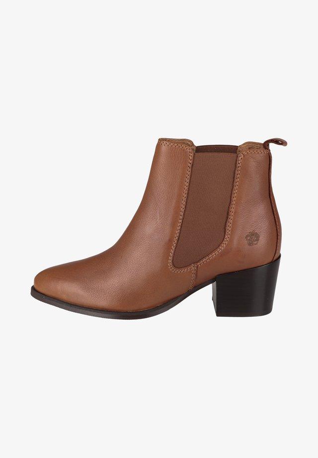 CHELSEA WEN - Boots à talons - cognac