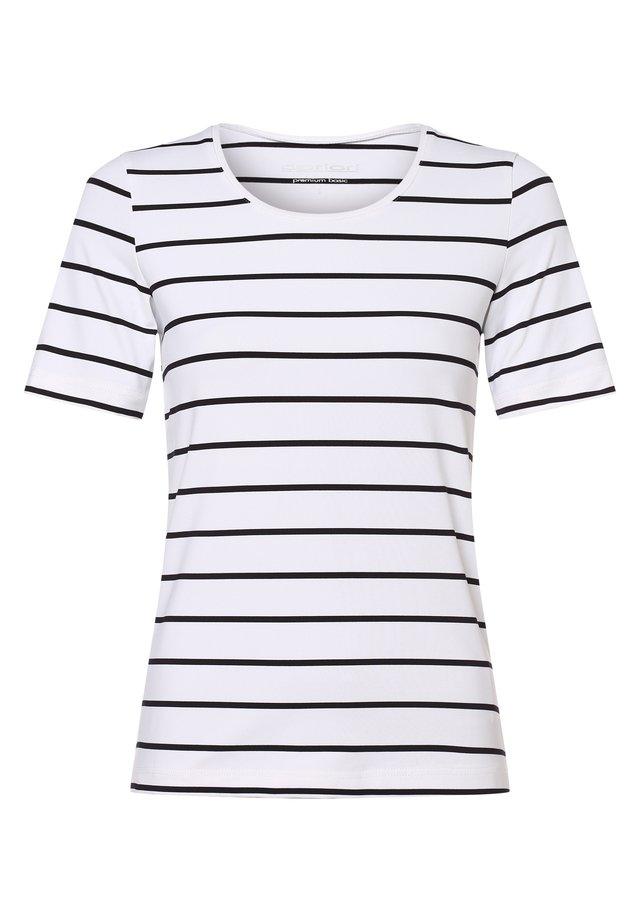 Print T-shirt - weiß blau