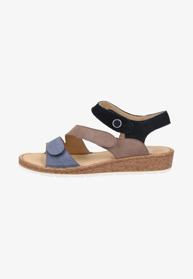 Sandalen met sleehak - taupe/blue
