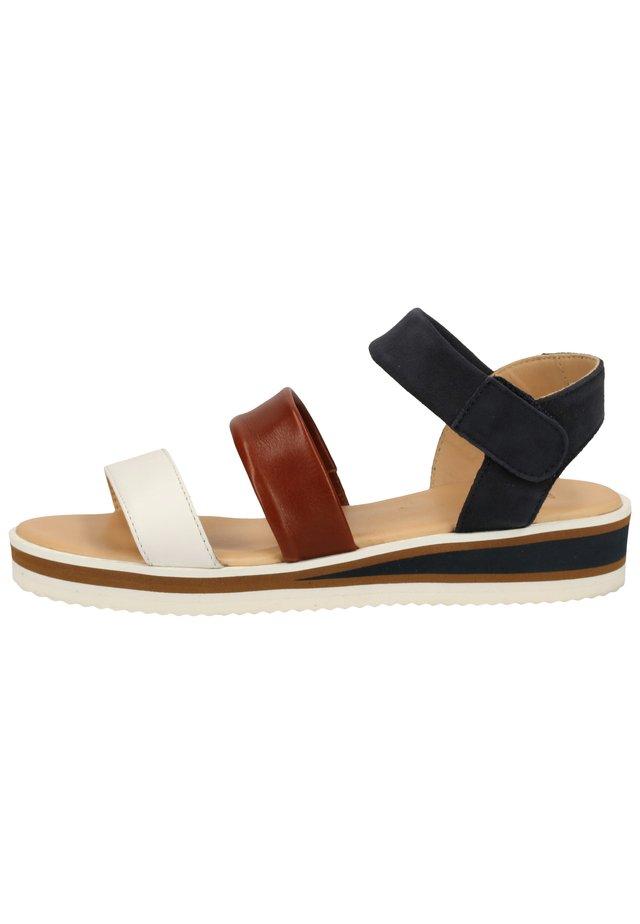 Platform sandals - weiß,cognac/blau 07