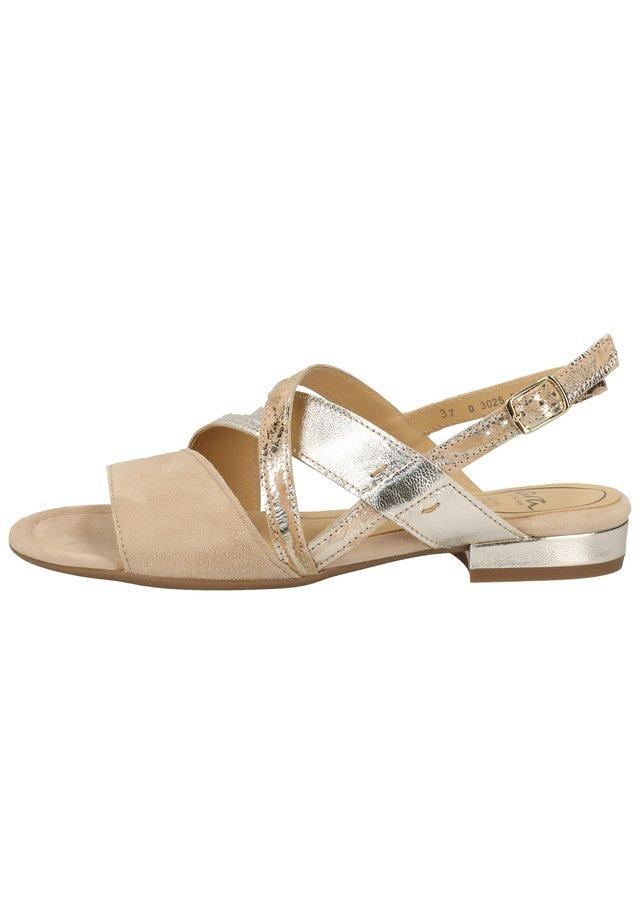 ARA SANDALEN - Sandals - camel/weißgold 08