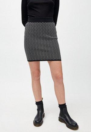 BEKAA HERRINGBONE - A-line skirt - black/white