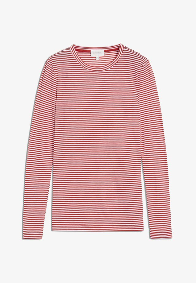 LARAA RING STRIPES - Long sleeved top - aurora red-off white