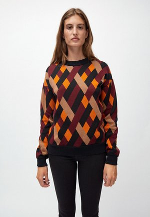 PEETJAA RHOMBS - Jumper - black/port wine