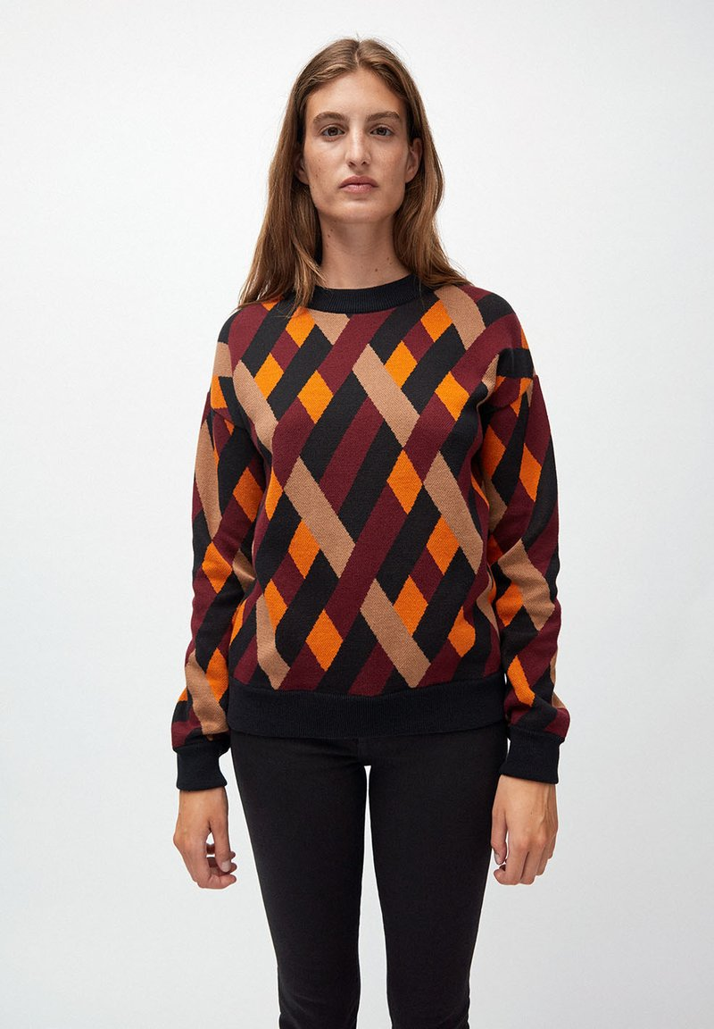 ARMEDANGELS - PEETJAA RHOMBS - Jumper - black/port wine