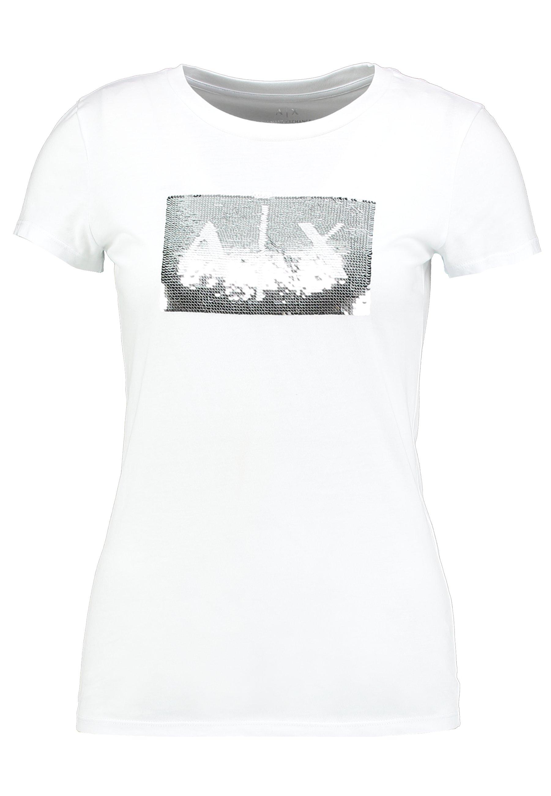 Armani Exchange T-shirt Med Print - White Ground