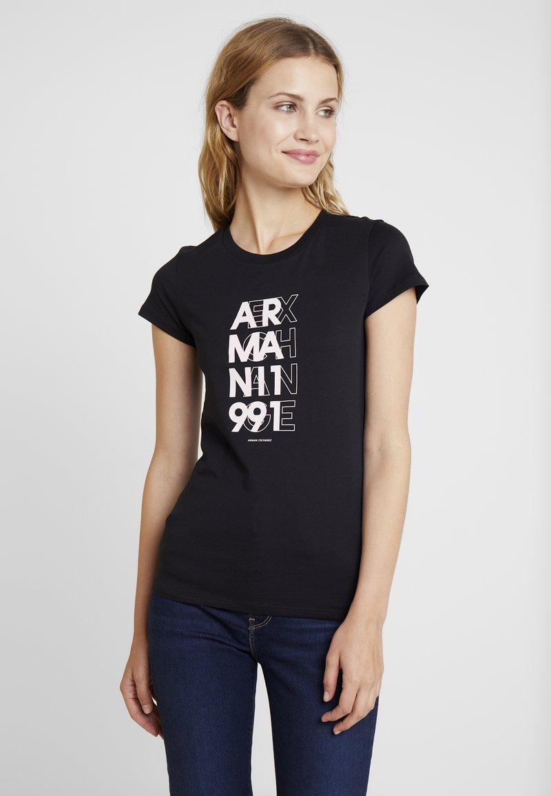 Armani Exchange - CREW NECK REGULAR FIT - T-Shirt print - black