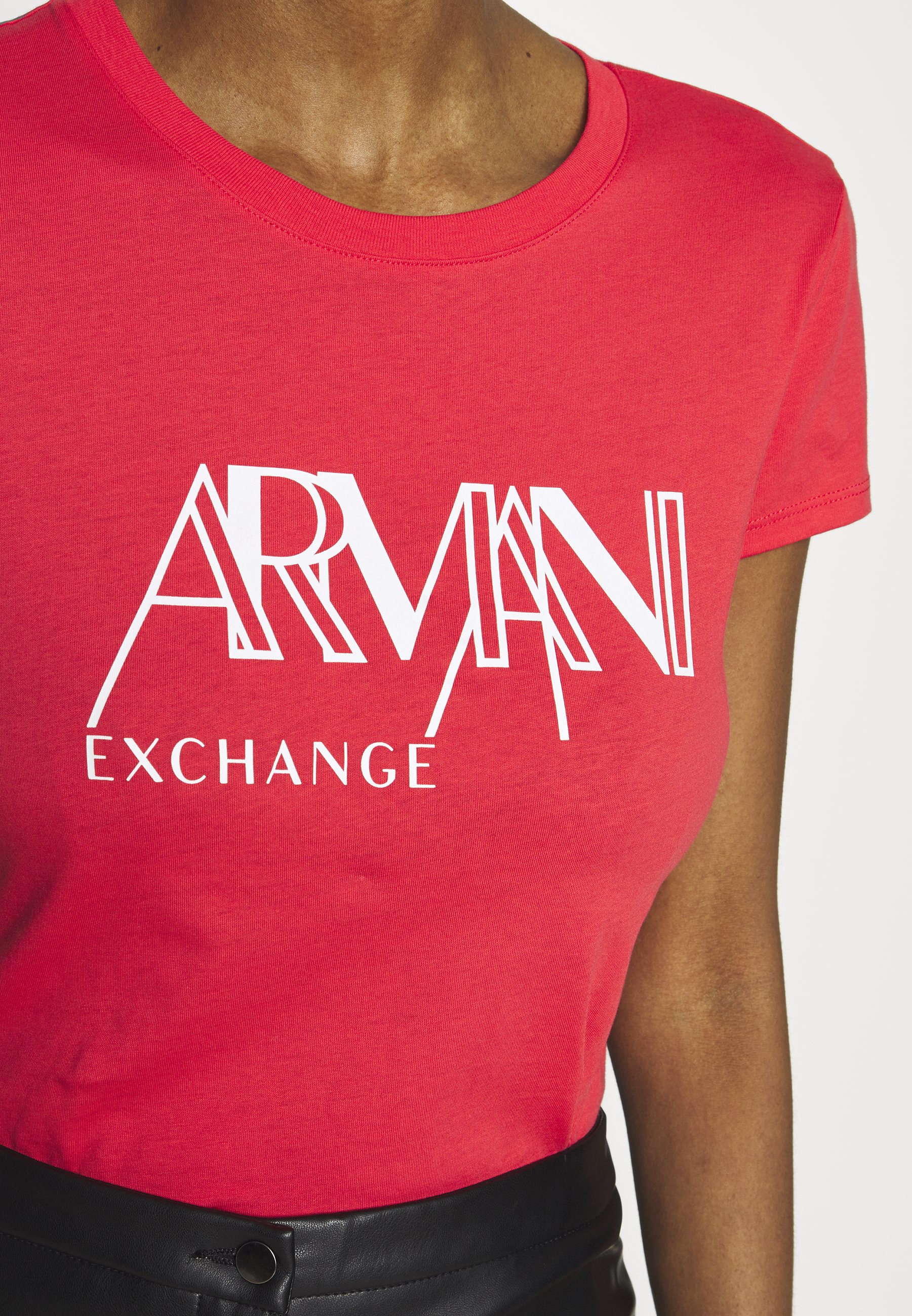 Armani Exchange Graphic Crew - T-shirt Med Print Coral
