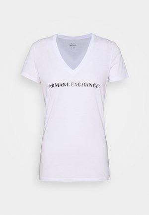 V-NECK - Print T-shirt - optic white