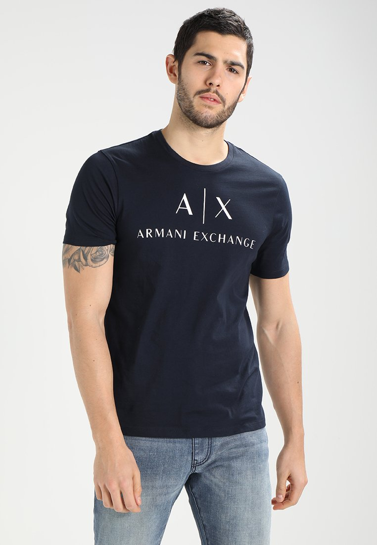 Armani Exchange - T-shirt med print - navy