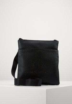 SMALL FLAT CROSSBODY BAG - Across body bag - black/gunmetal