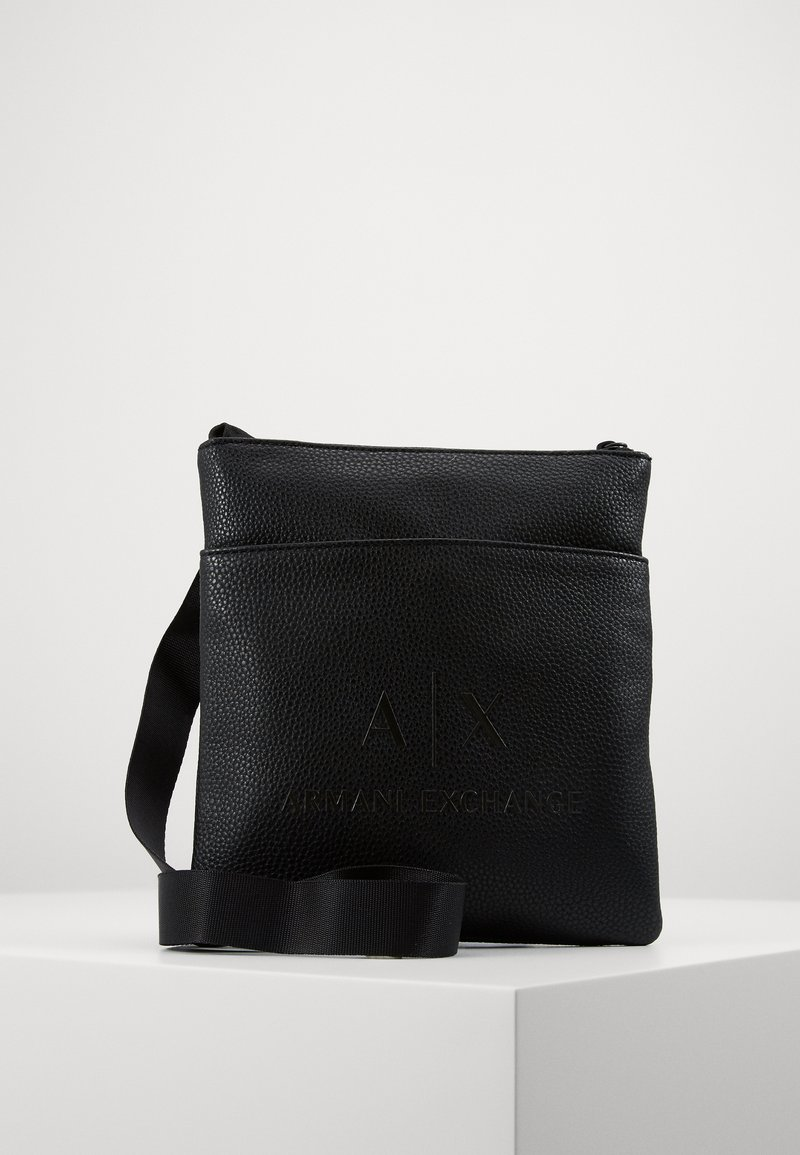 Armani Exchange - SMALL FLAT CROSSBODY BAG - Taška spříčným popruhem - black/gunmetal