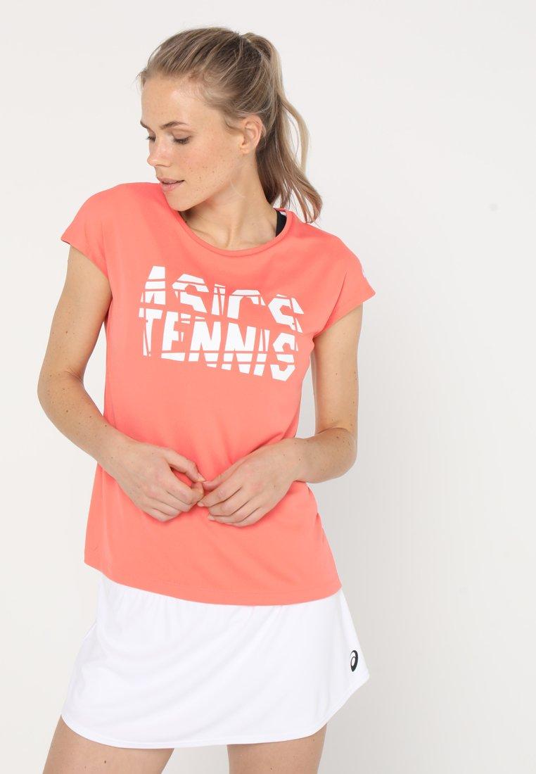 ASICS - PRACTICE GRAPHIC - Print T-shirt - papaya
