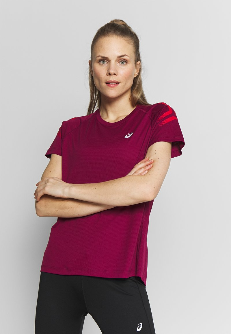 ASICS - ICON - Print T-shirt - dried berry/classic red