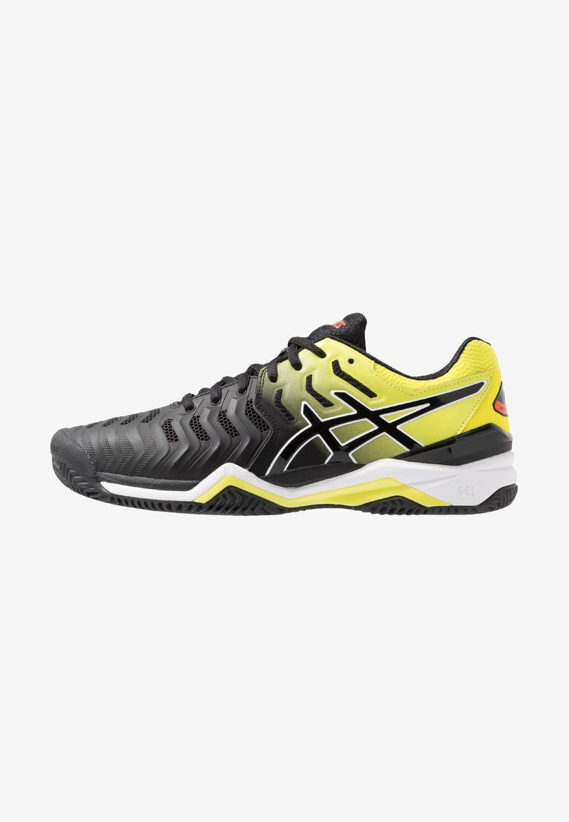 ASICS - GEL-RESOLUTION 7 CLAY - Clay court tennis shoes - black/sour yuzu