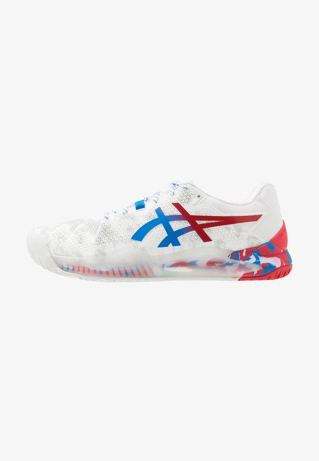 GEL-RESOLUTION 8 - Zapatillas de tenis para todas las superficies - white/electric blue
