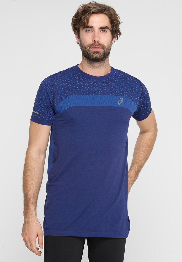 ASICS - SEAMLESS TEXTURE - Print T-shirt - indigo blue