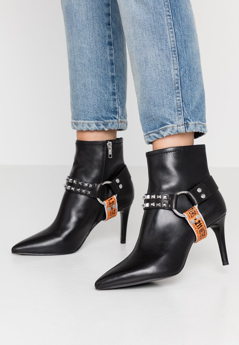 Ash - BRITNEY - High heeled ankle boots - black/silver