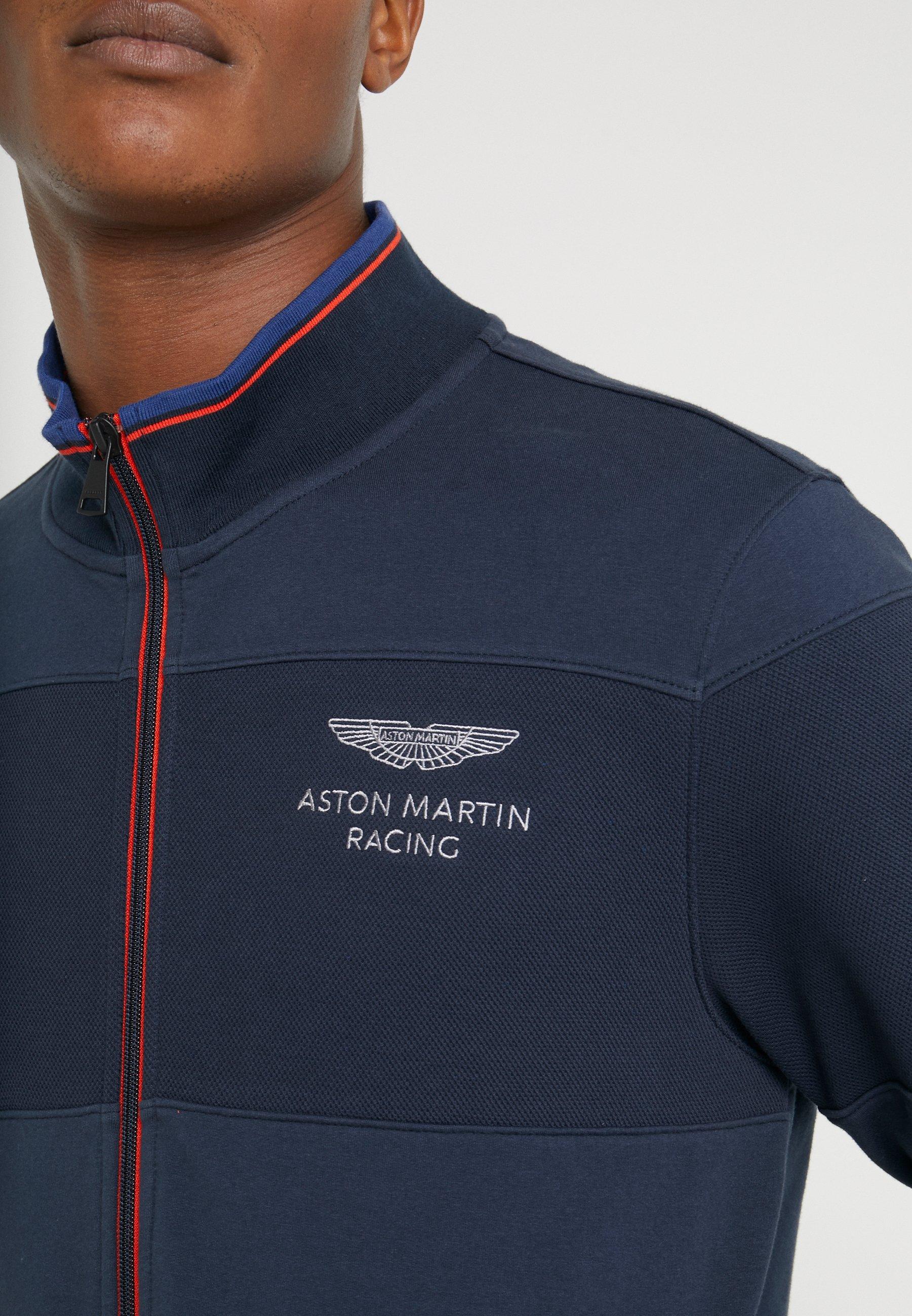 Hackett Aston Martin Racing Track Top - Huvtröja Med Dragkedja Navy