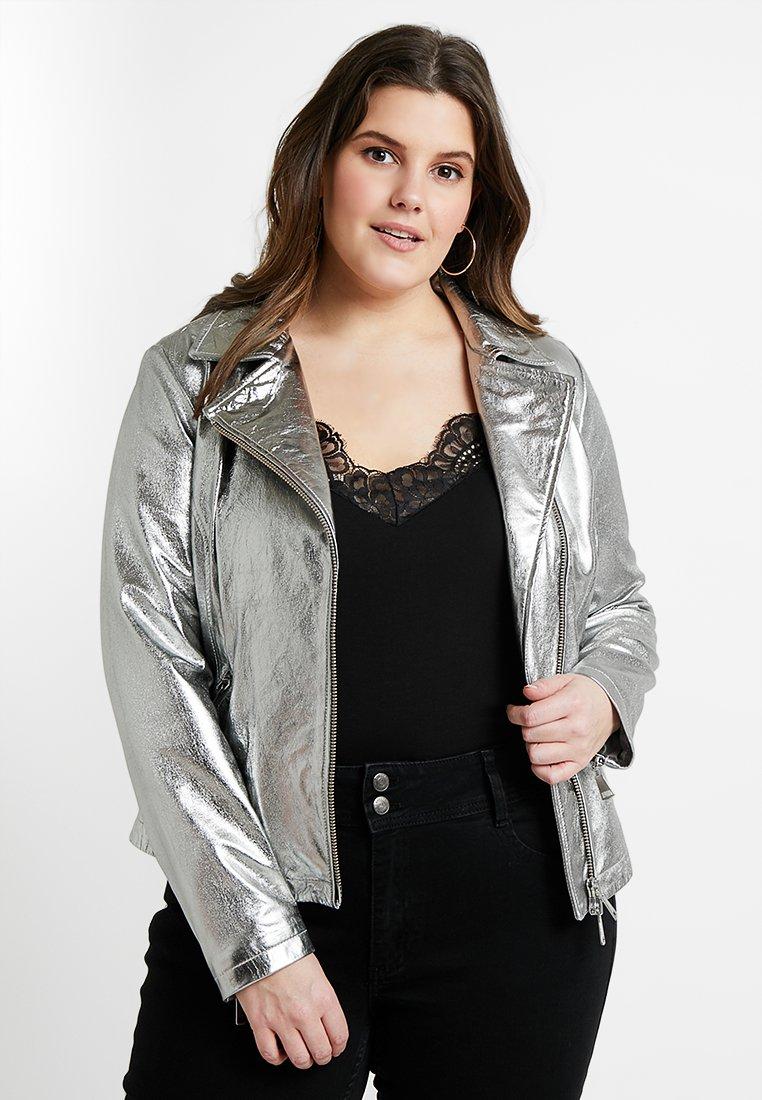 Ashley Graham x Marina Rinaldi - EBE JACKET - Leather jacket - silver