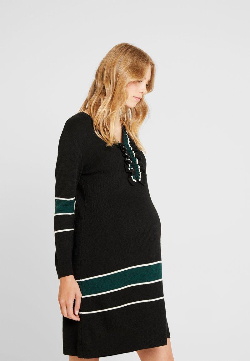 ATTESA - MAGLIA RIGHE - Stickad klänning - black