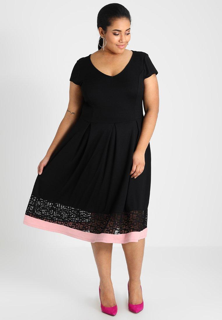 Anna Field Curvy - Jersey dress - black/rose