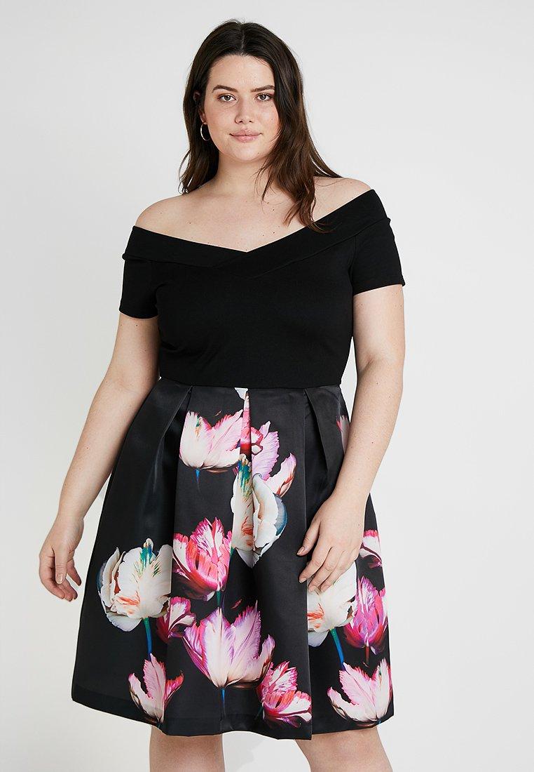 Anna Field Curvy - Jersey dress - black/pink