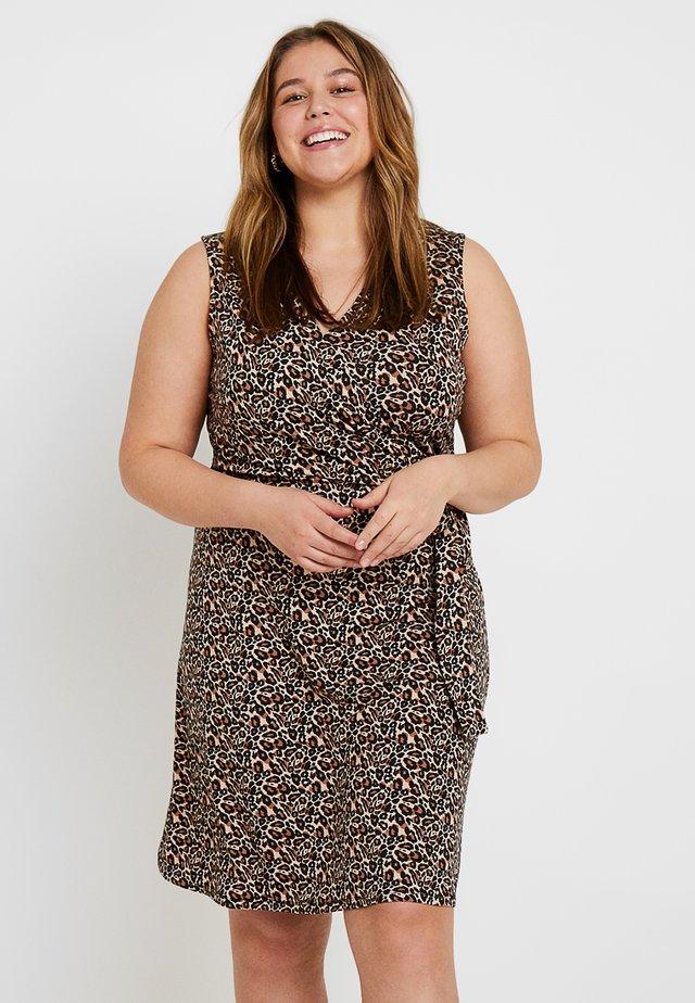 Jersey dress - brown/beige/black