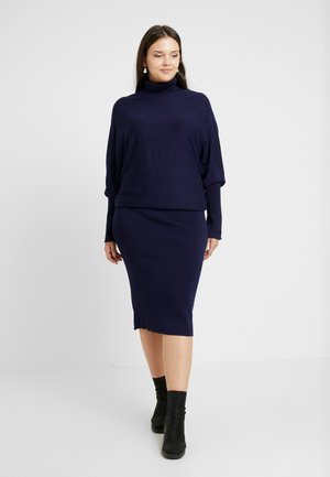 ROLL NECK BAT SHAPE DRESS - Strikkjoler - dark blue