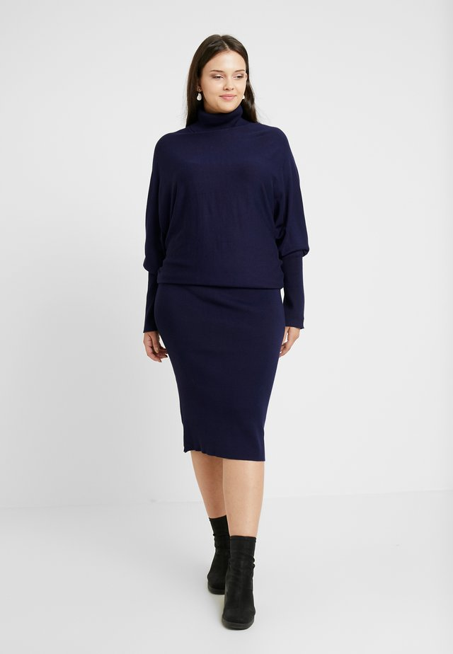 ROLL NECK BAT SHAPE DRESS - Stickad klänning - dark blue