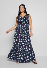 Anna Field Curvy - Maxi šaty - black/blue/white - 0