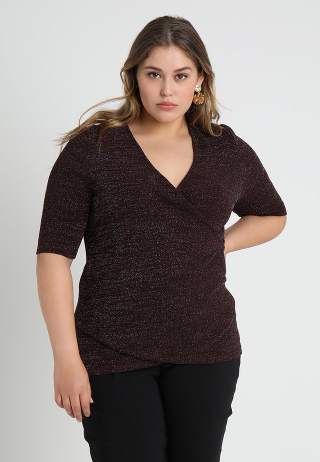 T-shirt med print - burgundy