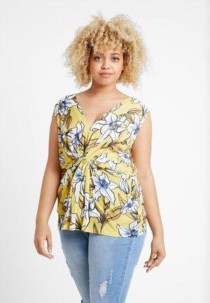 T-shirts print - yellow/white