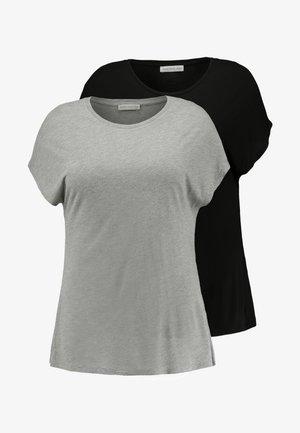 2 PACK - T-shirt basique - black/grey