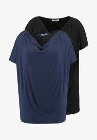 Anna Field Curvy - 2 PACK - T-shirt basique - black/dark blue - 3