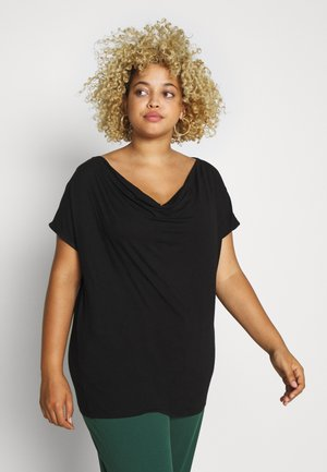 CURVY WATERFALL NECK - T-paita - black