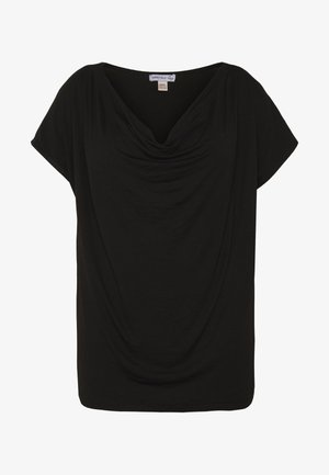 CURVY WATERFALL NECK - T-shirt basique - black