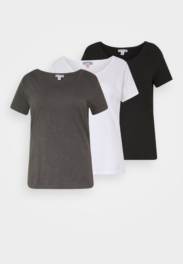 BASIC ROUND NECK 3 PACK - Basic T-shirt - white/black/dark grey