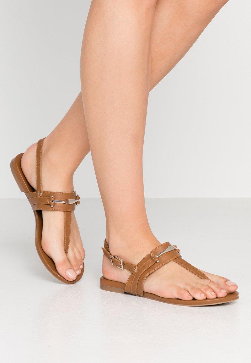 Call it Spring - LEESWOOD VEGAN - T-bar sandals - cognac