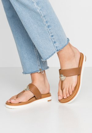 ETCHES VEGAN - T-bar sandals - cognac