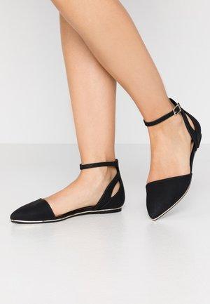 CHARLOTE - Ankle strap ballet pumps - black