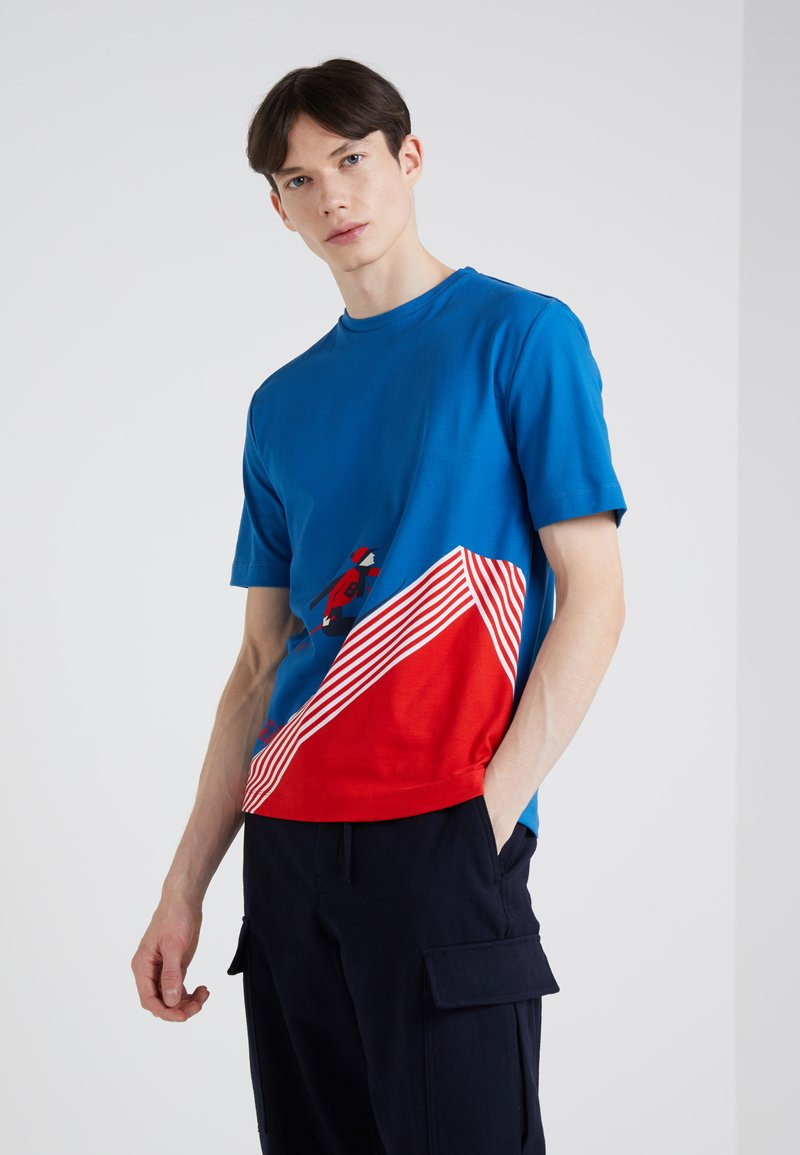 Band of Outsiders - BAND SKIER  - Print T-shirt - blue/red