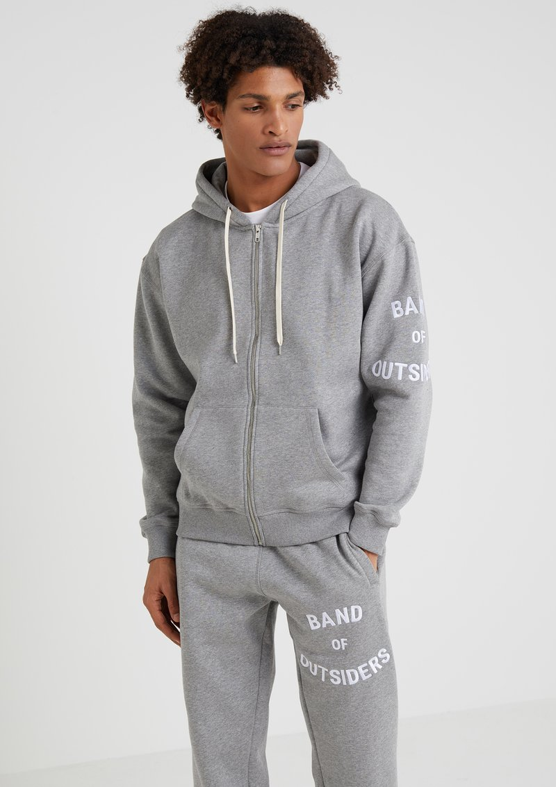 Band of Outsiders - BAND LOGO HOODIE - Sudadera con cremallera - grey melange